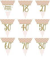 Pink Chic Birthday Buntings Gold Metallic Decorations  18 21 30 40 50 60 70 80