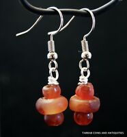 ANCIENT EGYPTIAN CARNELIAN BEAD EARRINGS -  300 B.C !! EXTREMELY NICE PAIR!!!