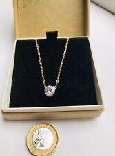 Vintage 1960's 18K Gold White Sapphire Gemstones 43cms Long Pendant & Necklace