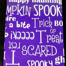 52x70 Rectangle~HALLOWEEN WORDS/PHRASES~Vinyl Tablecloth~Flannel Back~NEW