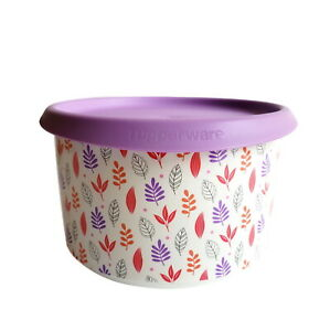 Tupperware Bingo 940 ml Keksdose Vorrat Dose Frischebehälter Blätter Deckel lila