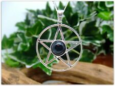 "Pentagram Black Onyx Sterling Silver Necklace Gemstone Pendant 18"" silver chain"