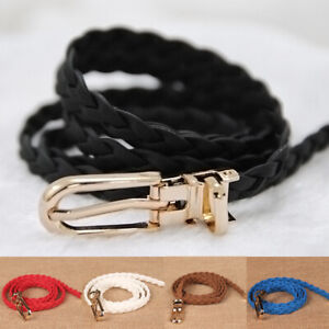 Women Skinny Woven Belt Golden Pin Buckle Waistband Thin Braided Waist Slim Rope
