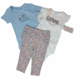 Baby Girl Carters Just One You 6M Set 3 pieces Pants Bodysuits Blue White Pink