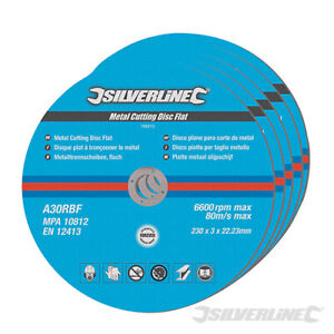 Metal Cutting Discs for Angle Grinder, Flat Blade x 5 Discs 115mm, 125mm, 230mm