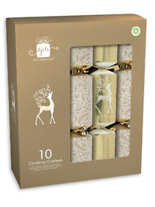 Giftmaker Deluxe Christmas Crackers Family 10 Pack Silver Gold White Brown Xmas