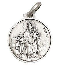 16MM Silver 925 Our Lady Mt Carmel & Sacred Heart Jesus Scapular Medal Pendant