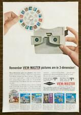 1963 View-Master Stereo Viewer Print Ad Pictures are in 3-D Various 7-Scene Reel