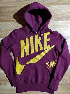Nike Swoosh Vintage Womens Hoodie Tracksuit Top Hooded Jacket Big Logo Vinous