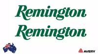2x REMINGTON HUNTING DECAL STICKER FOR CAR, UTE, ESKY 200MM WIDE IN GREEN
