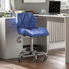 Computer Office Chair Home Cushioned Leather Low Back Swivel Adjustable Blue