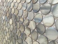 Mother of Pearl Penny Round Mosaic Tiles Deep Sea Backsplash 1 Sq Foot