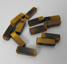 Genuine Loose Tiger Eye Square Tube Slider Spacers Bracelet / Necklace 12 Pieces
