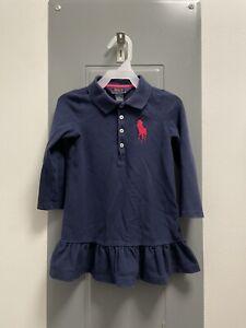 Polo Ralph Lauren Toddler Girls Navy Blue Ruffle Shirt Dress Size 3T Pink Pony