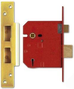 Union Locks 2234E 5 Lever BS Mortice Sash Lock Plated 79.5mm - Brass Finish