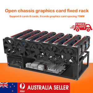 Steel Open Air Miner Mining Frame Rig Case for 8 GPU Crypto Coin Currency AU NEW