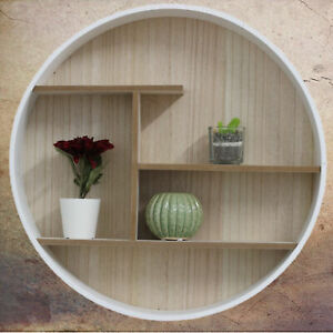 White Round Wall Mounted Shelf Storage Home Books Organiser Display Shelves Unit