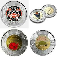 Canada Armistice,D day,Www2 and Bill Reid unc coloured 2$coins from mint roll.💥