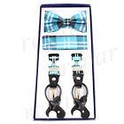 New in box Men's Suspender Braces Bowtie Hankie Elastic Strap plaid Turquoise