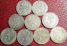 More details for 9 x 3d silver run 92.5% threepence vf/ef 12.3g 1902-1910 edward vii rare chance