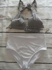 Oasis/New Look White/Navy Stripe Halterneck Bikini Set UK Size 16  -K65