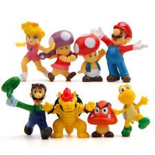 8pcs Super Mario Bros Mini Figures Toy Display Set Home Decor Cake Topper 3-4CM