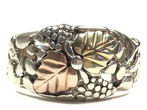 Beautiful Unisex Sterling Silver Black Hills Leaves Nugget Ring - Sz 10.5 - CCO