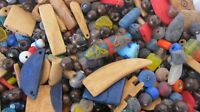8oz Vintage New Old Stock Mixed Beads Fancy Recycled Glass Wood Seed C48