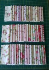 "Cotton Fabric Bundle 50 x 5"" Squares Vintage Laura Ashley Cath Kidston Roses (E)"