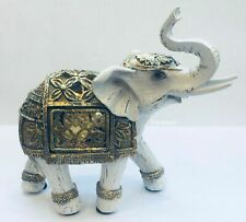 LED Light Up White Gold Decorative Elephant Ornament Figurine Statue Gift 12cm