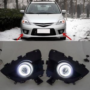 2x LED Running White Fog Light DRL Angle Eyes For Mazda 5 2006-2010