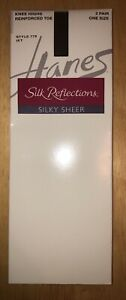 "Hanes ""Silk Reflections"" Knee Highs, 2 Pair Pack, Color Is Jet (Black)"
