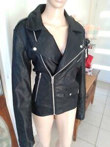 Ladies Jacket Sz M 14 16 Fake Black Leather Insight Biker Chick Style