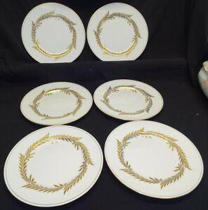 "Minton England Malta 6 Dinner Plates Gold 10 5/8"" -Bone China"