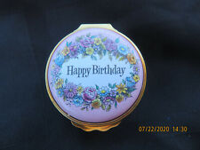 "Vintage Halcyon Days Enamels Trinket Box ""Happy Birthday"" Flowers"