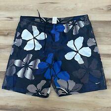 Nike Swim Men's Swim Trunks Bating Suits Blue Size XXL Blue Floral Print
