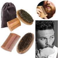 Grooming Depilacion facial Peine de madera barba Cepillo de cerdas de jabali