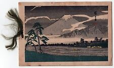 Beautiful 1930s JAPAN Japanese CHRISTMAS CARD Xmas MT FUJI Art MOUNT Print