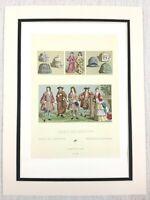 1888 Antico Stampa 17th Secolo Francia da Uomo Costume Storico Moda Cappelli
