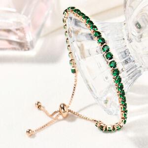 Fahion Women 5 Color Rhinestone Crystal Adjustable Bracelet Bangle Jewelry Gift