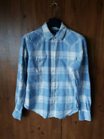 RALPH LAUREN SPORT LONGLINE SHIRT TOP Check Blue White UK 14 / 42 - VGC