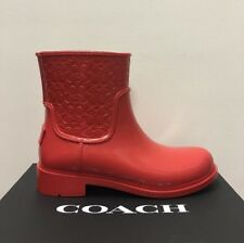 New - Women's Coach True Red Signature Rain Boots Size 10