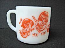 vtg Beatles? YEA ! YEA ! FEDERAL milk glass 4 FUNNY BAND GUYS coffee mug RARE