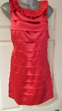 Silky red ruffled satin party/evening dress (16) MADAM RAGE