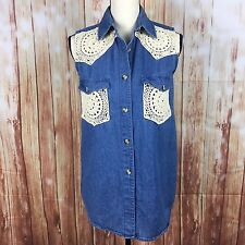 Just Class Top Shirt Womens Small Chambray Lace Button Down 100% Cotton Boho