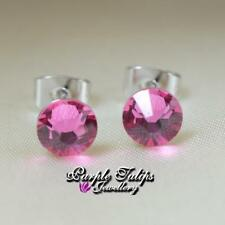 18CT White Gold Plated Round Cut Stud Earrings Made With Swarovski Crystal