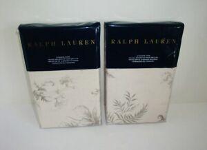 """Ralph Lauren Hoxton Ainslie Floral Standard Shams Pair (2) Cream Grey New 20x28"""""""