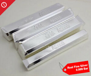 Pure Real Fine Silver 0.999 Bullion Bar Scrap Ag Material Real Silver bar 10g