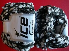 Ice Yarns Pom Pom accent yarn, wool blend, charcoal/white lot of 2 (88 yds each)
