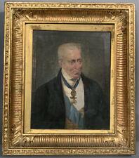 Ca.1830 Antique 19thC VICTORIAN GENTLEMAN Mason MEDAL Ribbon PORTRAIT PAINTING